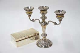 WITHDRAWN Silver candelabrum and cigarette box