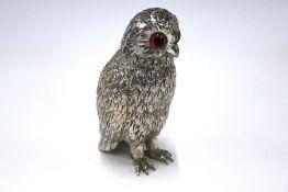 Novelty silver plate 'owl' caster