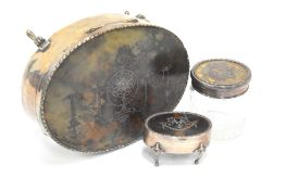 Asprey silver and tortoiseshell pique-work casket, ring box and toilet jar