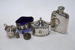 Silver hip flask, etc.