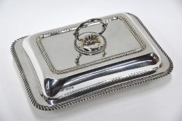 Heavy silver entrée dish and cover, London 1933