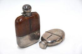 Two silver-mounted spirit flasks