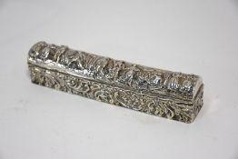 An Edwardian silver hatpin box