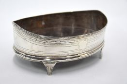 Oval silver bowl
