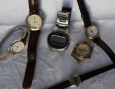 A Seiko LC digital watch together with A Gucci watch,