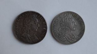 A William III silver crowns, one dated 1695,