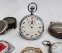A continental white metal open faced fob watch, together with a silver watch case,