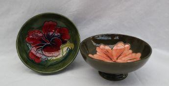 A Moorcroft Hibiscus pattern pedestal bowl,