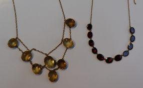 A Citrine set necklace,