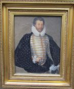 William Hilton Portrait of Sir Christopher Hatton in ruff and cape Inscribed later verso,