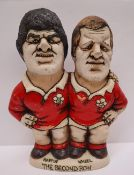 Groggs - A John Hughes pottery Grogg, The Second Row, depicting Martin and Wheel in Welsh Kit,