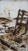 Fred Yates Boats in an inlet Oil on board Signed 56 x 31cm ***Artist resale rights may apply***