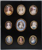 A collection of nine 18th and 19th century oval portrait miniatures, painted onto ivory and enamel,