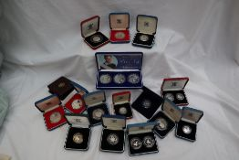 Royal Mint - A collection of silver proof coin sets including 1992 ten pence two-coin set,