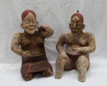 A pair of pre-Columbian type Jalisco style bichrome pottery figures,