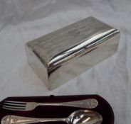 A George V silver cigarette box of rectangular form, with line decoration and initials, Birmingham,