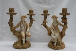 A pair of Royal Worcester Watteau style figural candelabra,