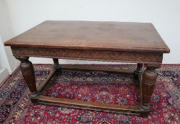 A 17th century and later oak refectory table,