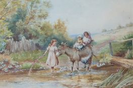 H Hammond Riding the donkey Three children with a donkey in a stream Watercolour Signed 29.