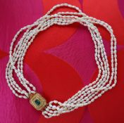 A six strand fresh water pearl necklace,