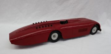 A Sunbeam 1000 land speed tin plate model car, with Dunlop Cord Racing wheels, repainted,