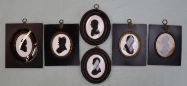 19th century British School Head and shoulders portrait of a gentleman in profile A silhouette 8.