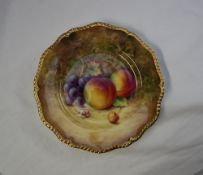 A Royal Worcester hand painted fruit study plate,