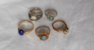 Three 9ct yellow gold hardstone set dress rings together with two silver dress rings