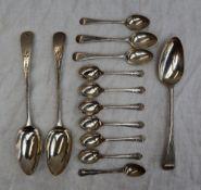 A George III silver beaded pattern table spoon, London, 1787,