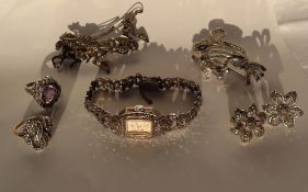 A Lady's marcasite set cocktail watch, together with marcasite brooches,