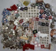 A large collection of loose coins including 5 pence, half pence, six pence, shillings, pennies,