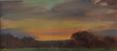 David Lloyd Griffith Sunset study Oil on board Initialled and inscribed verso 10.5 x 28.