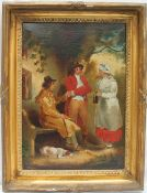 Attributed to George Moorland (1763 - 1804) Figures outside a tavern Bears signature and dated