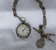 A late Victorian silver open faced fob watch,