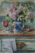 Andrew Douglas Forbes Welsh dresser with flowers Watercolour Signed and inscribed verso 55 x