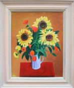 Ralph Spiller Sunflowers Oil on board Initialled and inscribed verso 49.