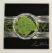 Laura Wallace Abstract Mixed media of glass and oil paints Signed in silver pen 39.5 x 39.