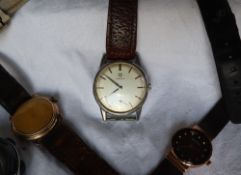 A Gentleman's Omega wristwatch, the silvered dial with a seconds subsidiary dial and batons,