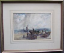 Arthur Bassett Waller Bringing home the catch Watercolour Signed 24 x 33.