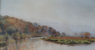 William Henry Millais River Scene Watercolour Signed and dated 1879 36 x 67.