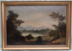 Wilson Classical landscape scene Oil on board Signed and dated 1844 45 x 67.