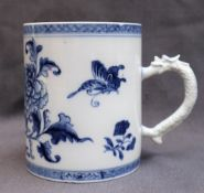 A 19th century Chinese blue and white porcelain tankard,
