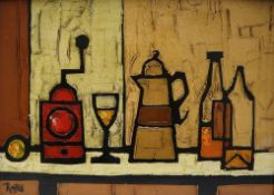 Colin Ruffell (B 1939) A still life of a coffee grinder,