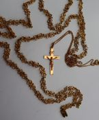 A yellow metal necklace, with heart shaped links, marked 14k, approximately 22 grams, 79.