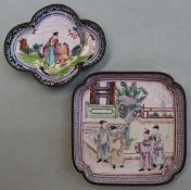 A Chinese enamel decorated dish of square form with inverted corners,