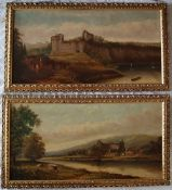 Henry Harris of Bristol Tintern Abbey Oil on canvas Signed 43 x 87cm Together with a companion of