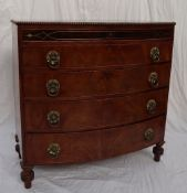 A Victorian mahogany chest, with a bowed top and beaded rim,