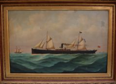 "19th Century British School The ""Rothesay"" Study of a ship Oil on canvas 49 x 77."