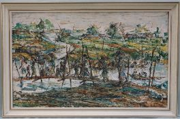 Kazi Anowen Hossain River scene Oil on canvas Signed and dated 1972 52.