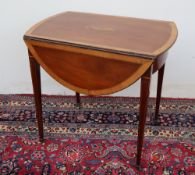 A George III mahogany and satinwood cross-banded Pembroke table of oval form,